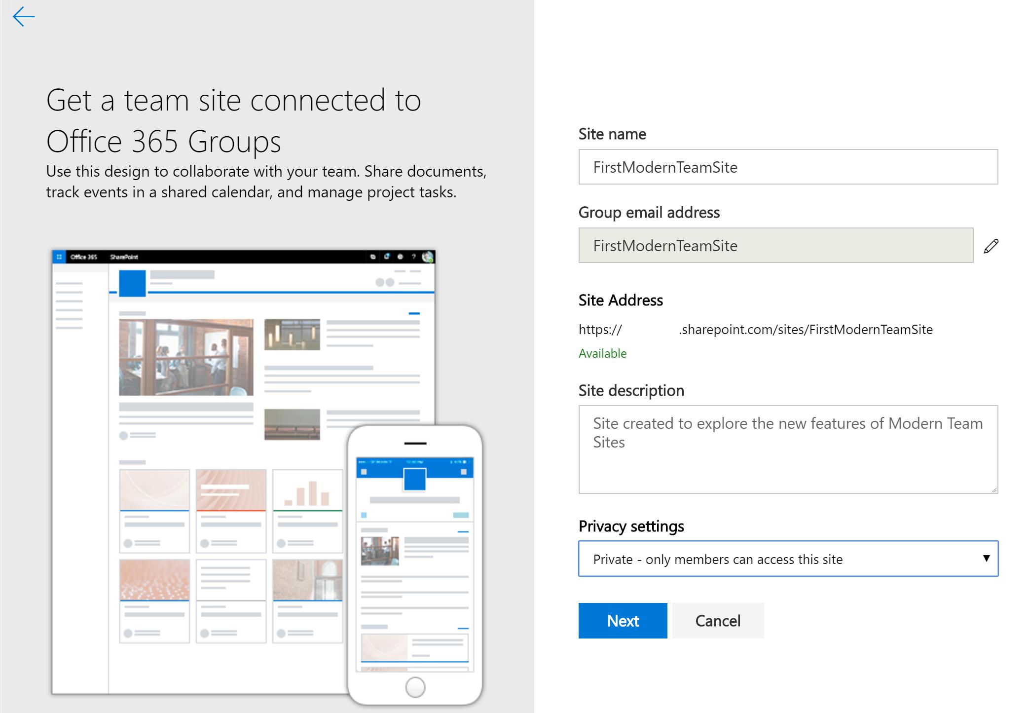 SharePoint Online Modern Team Sites - TechNet Articles