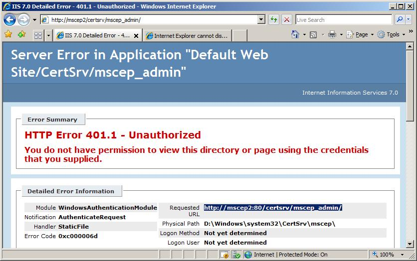 Active directory certificate services ad cs network device figure 15 unauthorized error yelopaper Gallery
