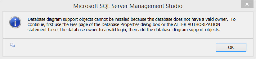 Sql server database diagram support objects cannot be installed of the database properties dialog box or the alter authorization statement to set the database owner to a valid login then add the database diagram ccuart Images