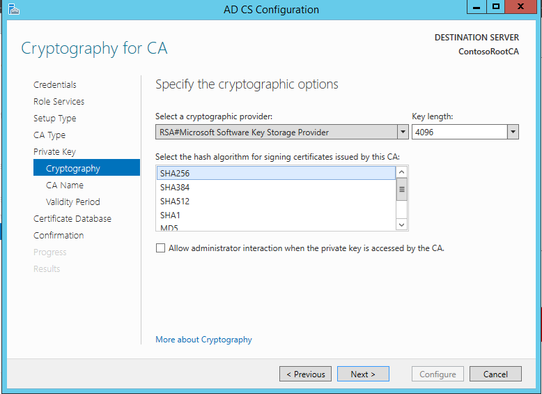 Implementing sha 2 in active directory certificate services whatever hash algorithm you choose under the select the hash algorithm for signing certificates used by this ca determines how the root cas own ca yelopaper Choice Image