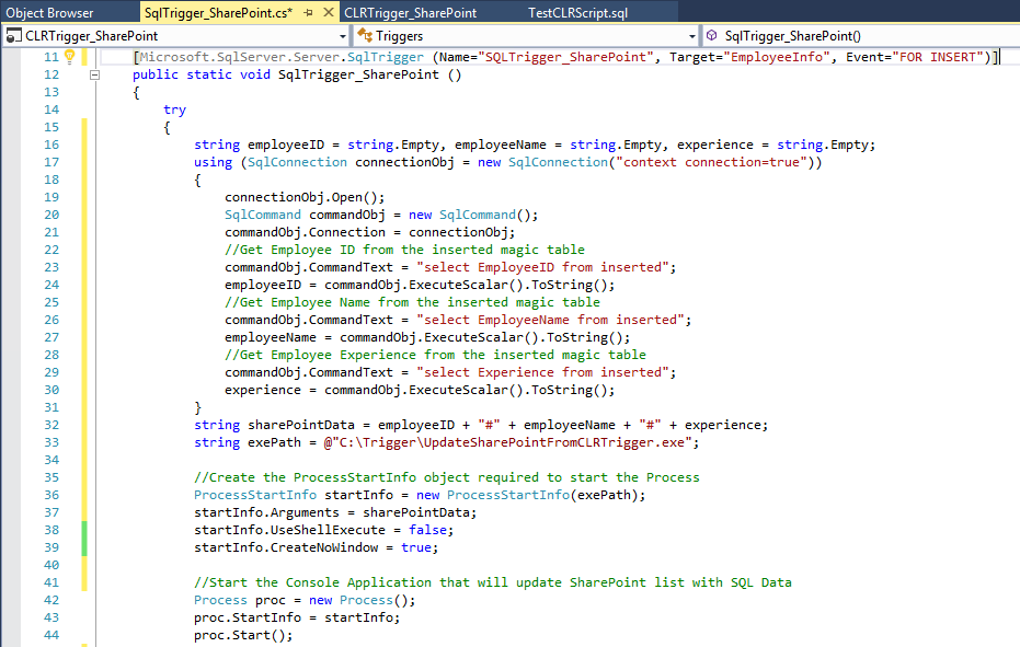 SharePoint: Insert SQL Server data using SQL CLR Trigger and