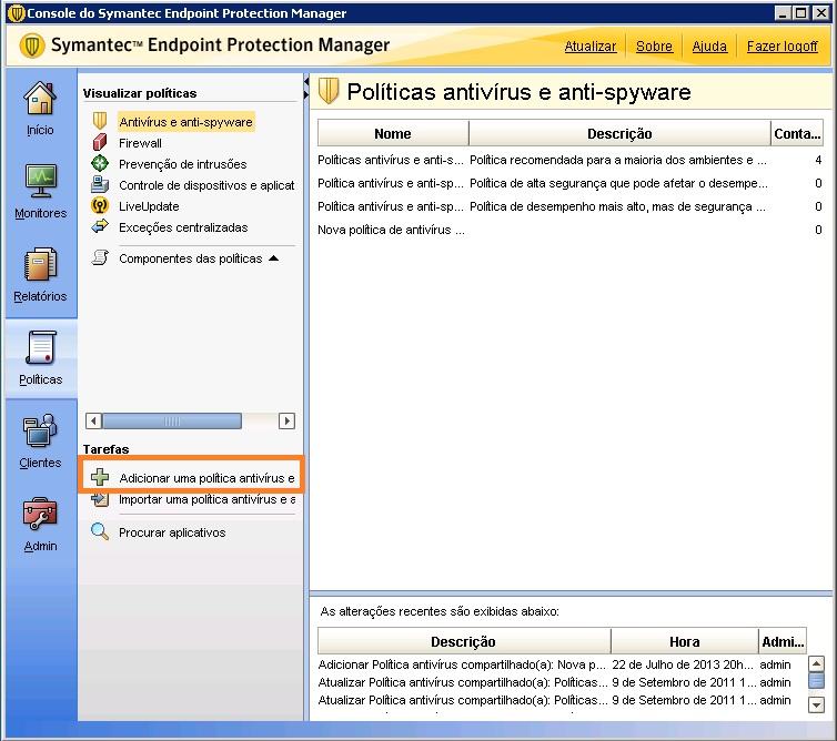 Criando Tarefa Agendada no Symantec Endpoint Protection com