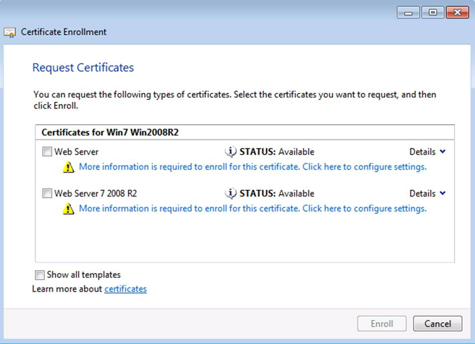 Certificate templates not available for windows 7 and windows workaround yadclub Image collections