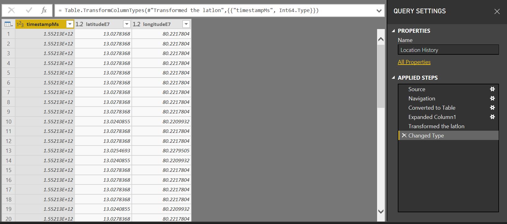PowerBI: Tracking Location using Google Location Data