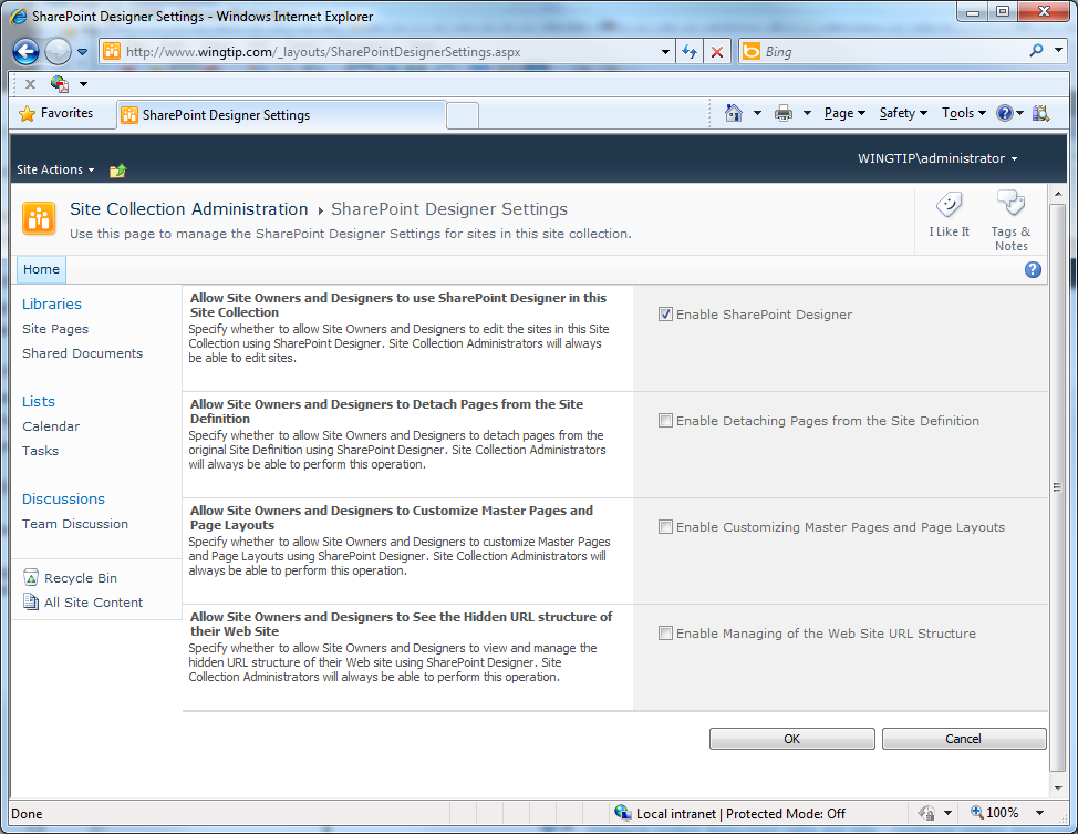 the site collection administrations sharepoint designer settings page appears