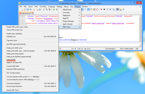 Wiki: Format XML Markup using Notepad++ - TechNet Articles
