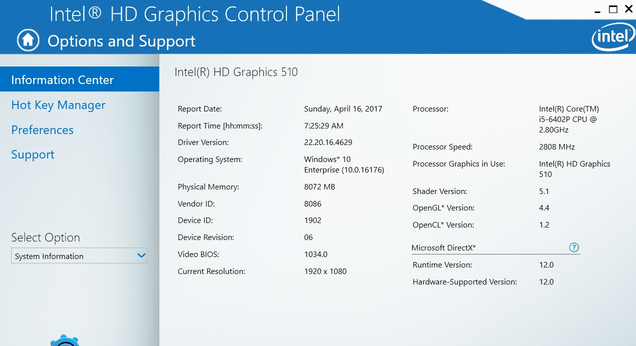 драйвер intel hd graphics 510