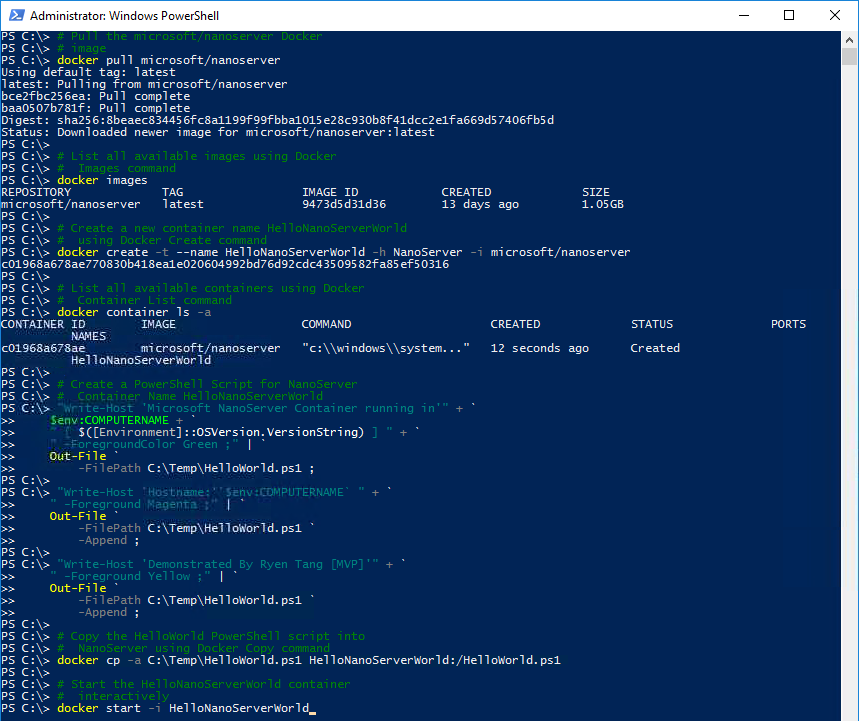 Nano Server: Getting Started in Container with Docker - TechNet