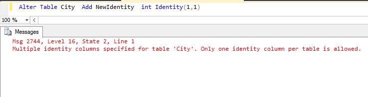 Alter Table City Add NewIdentity int Identity(11)  sc 1 st  Microsoft & Working with Identity Column After Table Creation in SQL Server ...
