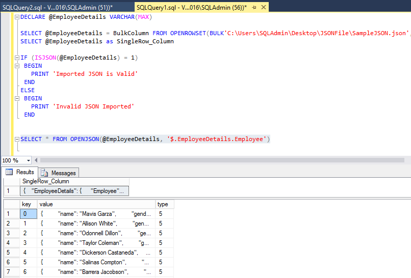 SQL Server 2016: Bulk Import JSON file data to Table - TechNet