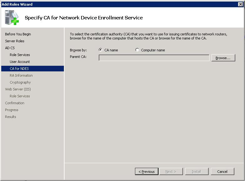 Active directory certificate services ad cs network device step 4 specify the certification authority yelopaper Images