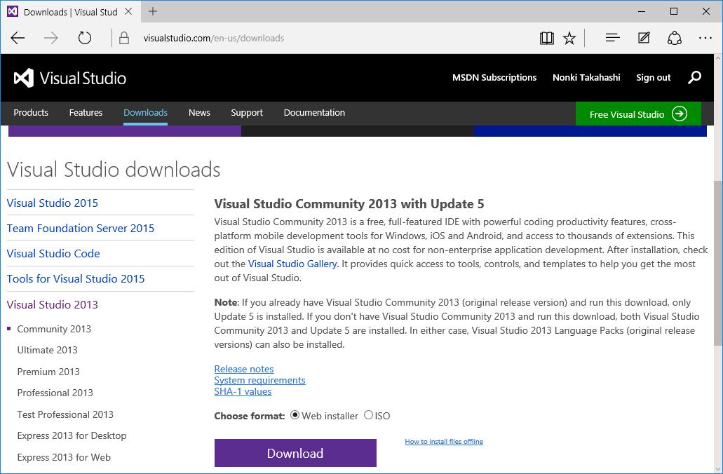 visual studio community 2013 download