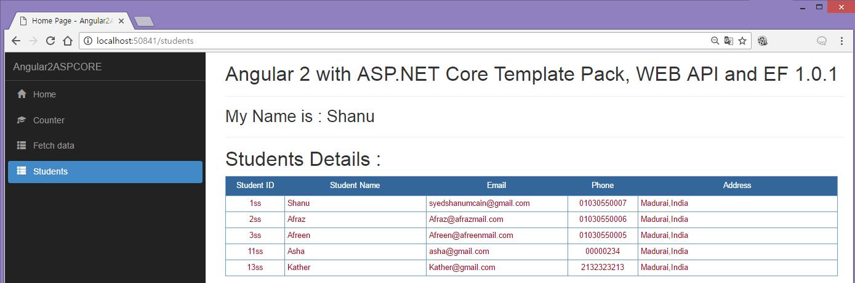 ASP NET Core Angular 2 EF 1 0 1 Web API Using Template Pack