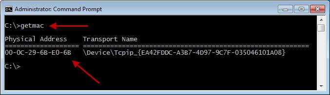 Get mac addresses from CMD