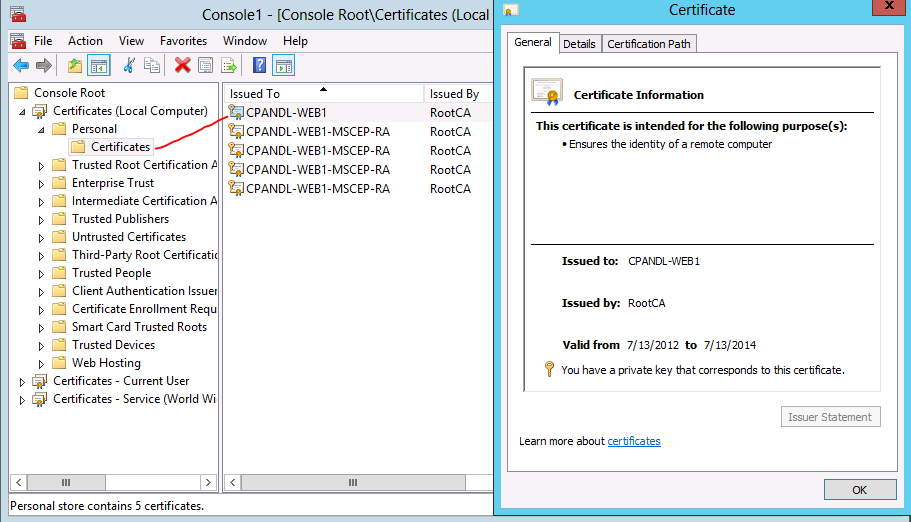 How To Use The Certificates Console Technet Articles United