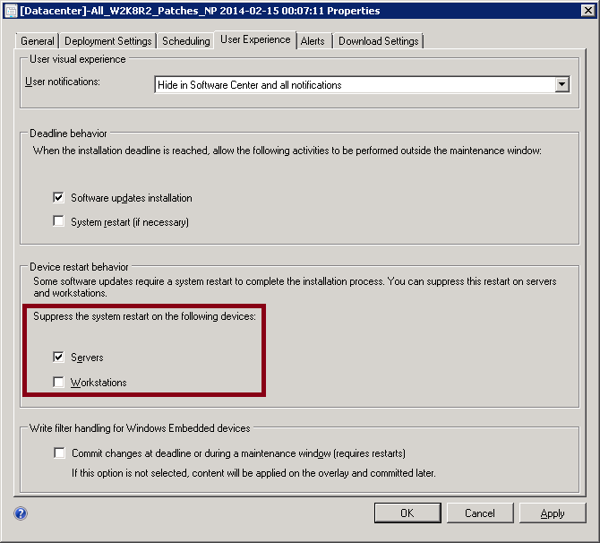 How to suppress the system restart on devices in a Software Updates