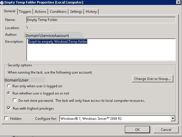 Schedule Task to Empty Windows Temp Folder - TechNet