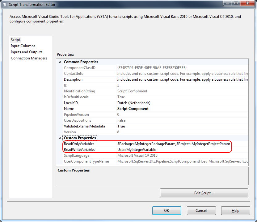 Use SSIS Variables and Parameters in a Script Component