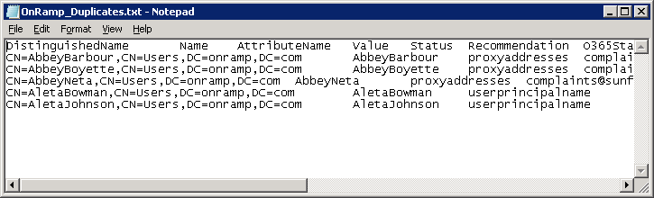 if onramp autocheck finds that duplicate values exist in your on premises active directory you will get a table separated values file that contains these