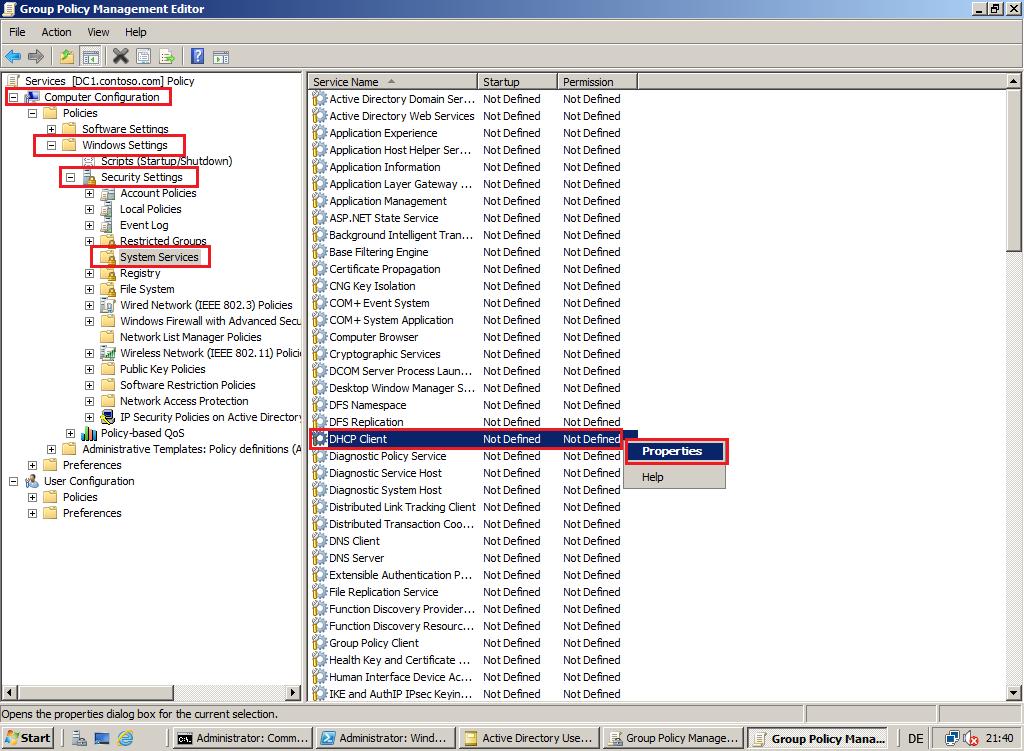 windows 7 service accounts