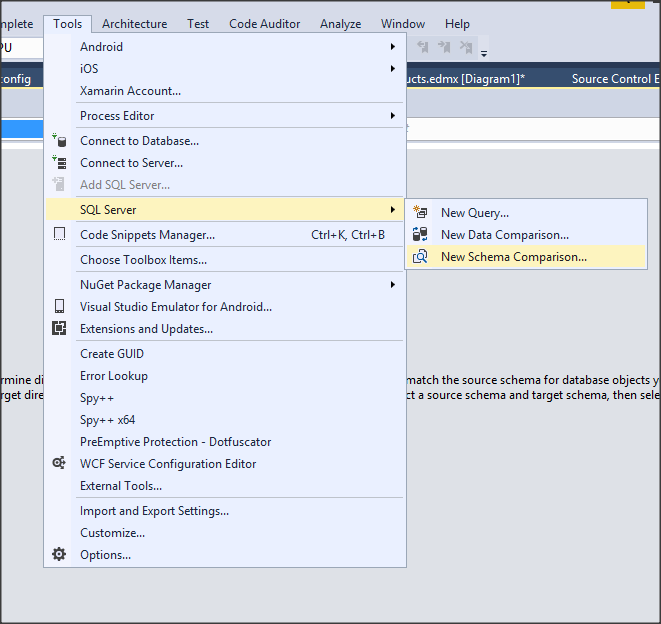 Microsoft azure updating sql database schema using visual studio using visual studio to update the schema this one is our option most of the visual studio editions come with a nice feature to compare sql databases both ccuart Gallery