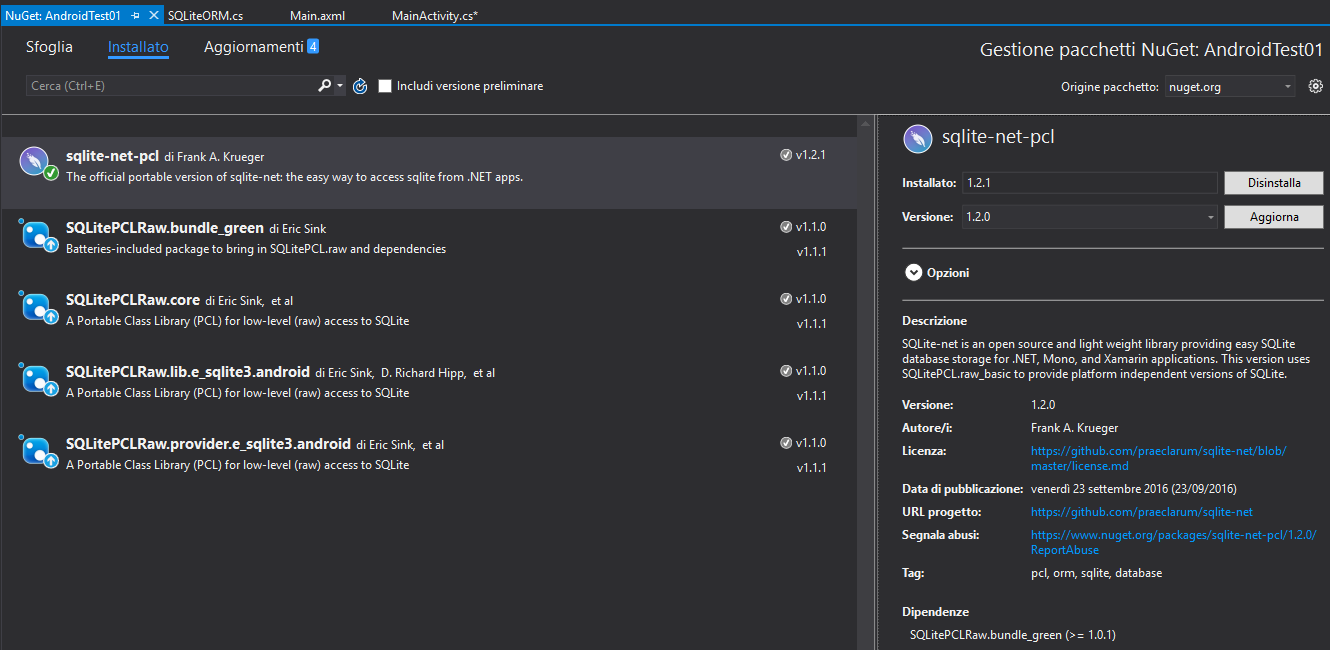 SQLite interaction on Android with Visual Studio and Xamarin