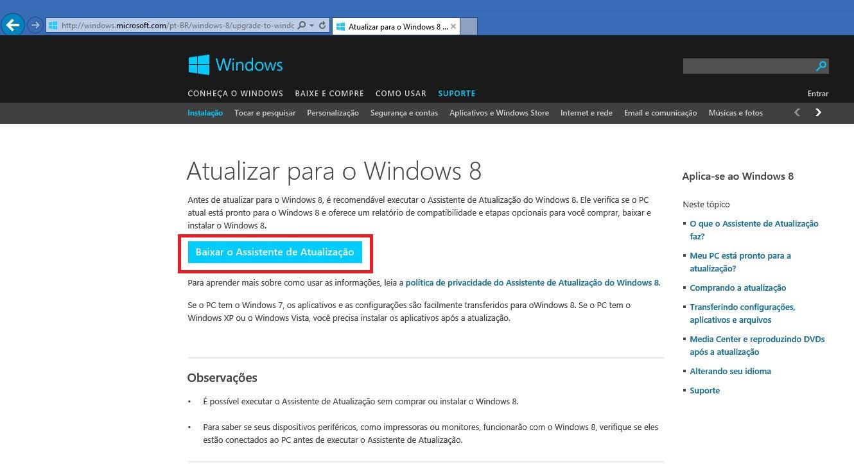 Executando o Assistente de Atualização do Windows 8