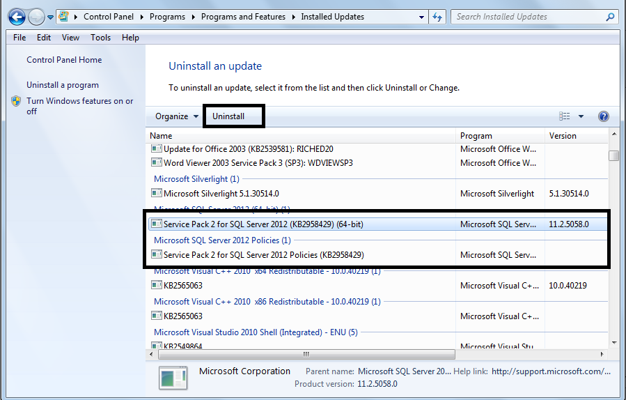 How to install sql server 2012 sp2 on standalone sql server after clicking on view installed updates below window will pop up select sql server 2012 sp2 and then click on uninstall to uninstall the service pack sciox Choice Image