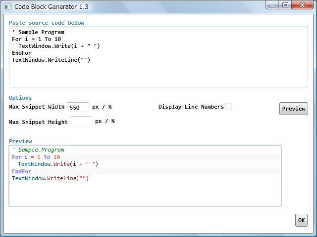 Small Basic Code Block Generator: How to format a Code Block