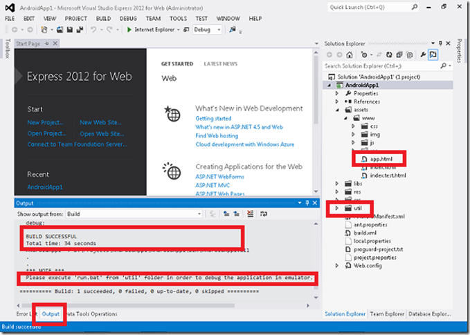 Android App Development in HTML5 using Visual Studio 2012 Express