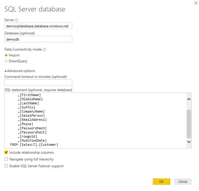 Power BI Desktop - Database Connectors - cloudopszone com