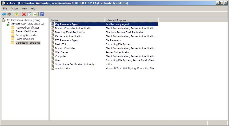 Active directory certificate services pki key archival and in the select certificate template dialog box click key recovery agent and then click ok yadclub Image collections