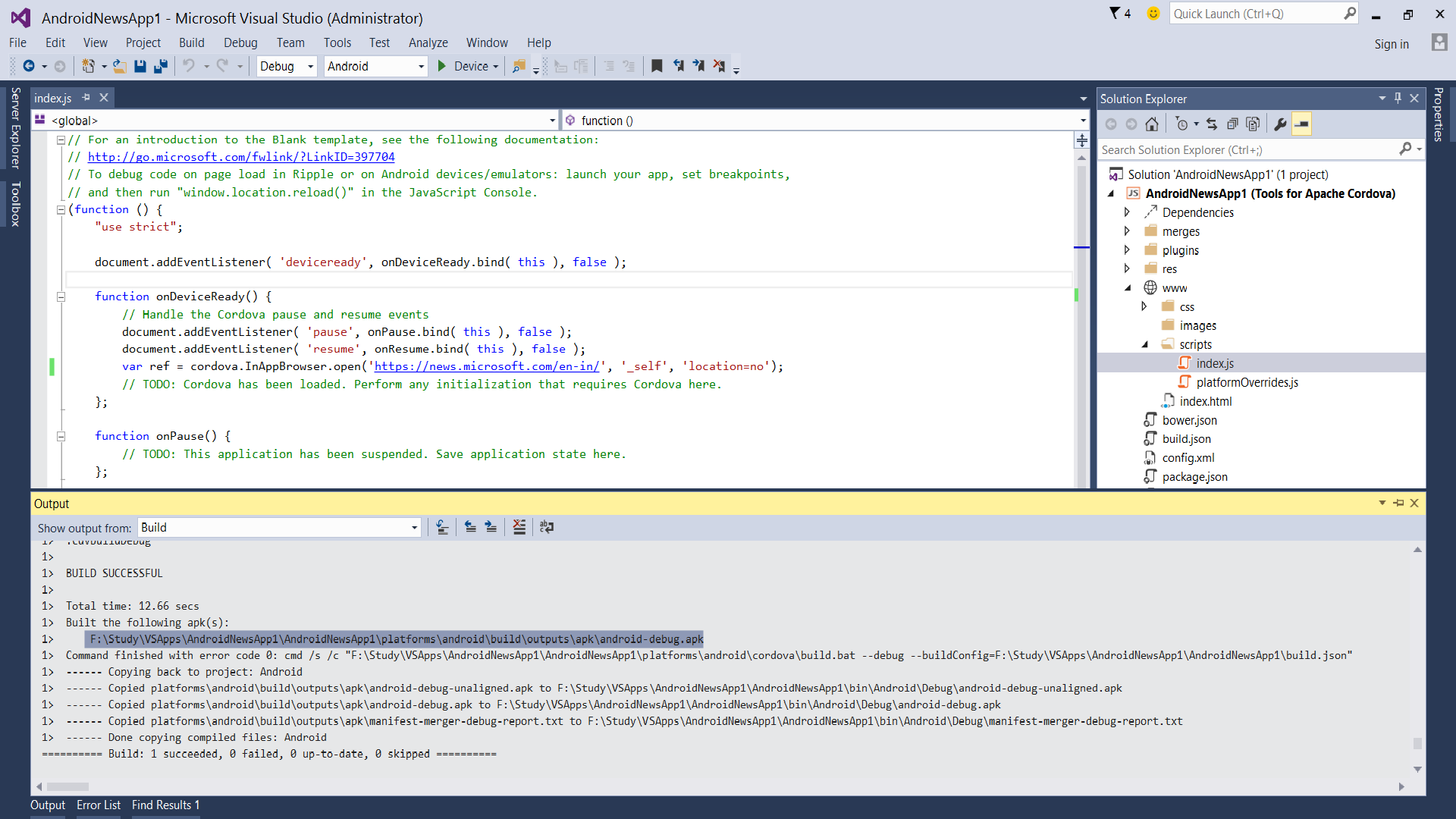 Android News App with Visual Studio 2015 - TechNet Articles