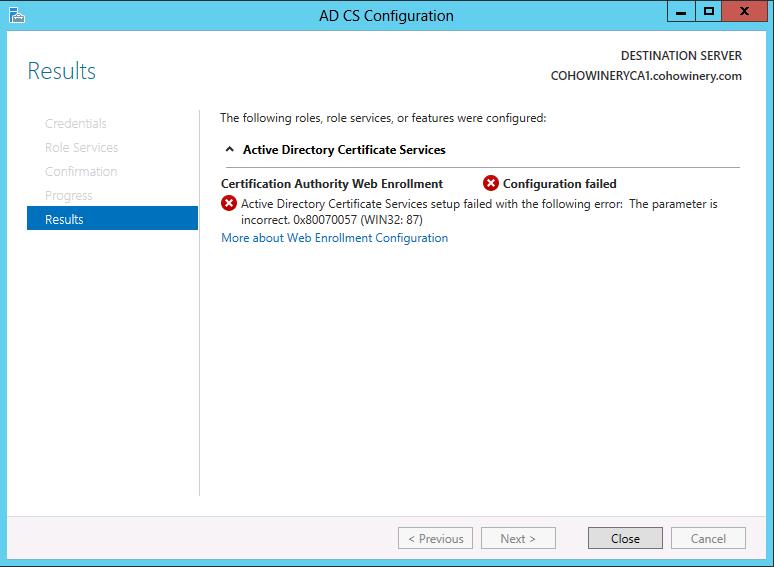 Ad Certification Authority Web Enrollment Configuration Failed