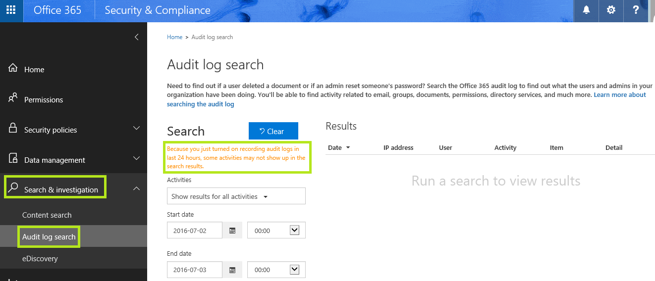 Office 365 Security and Compliance Center: How to enable Audit Logs