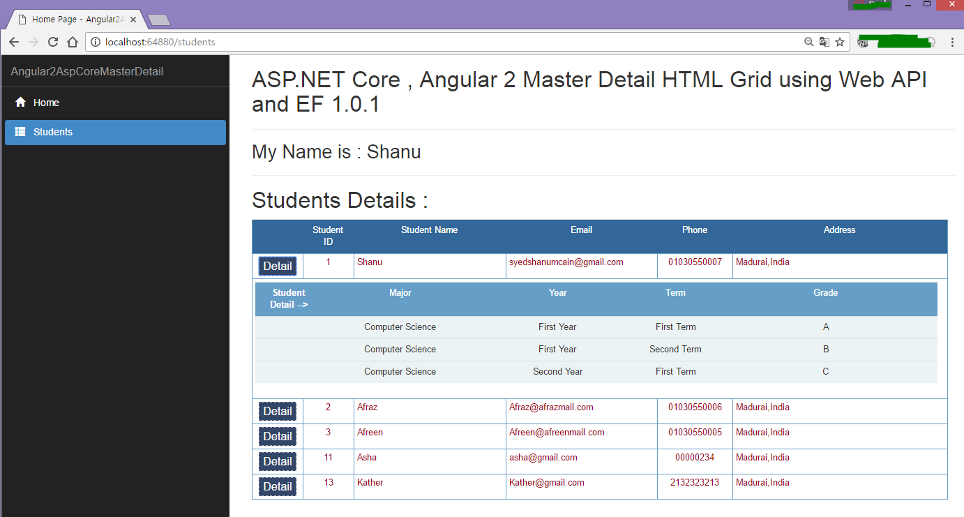 How to create web api in asp net core mvc using entity - Build And Run The Application And You Can See Our Students Master Detail Page Will Be Loaded With All Student Master And Detail Information