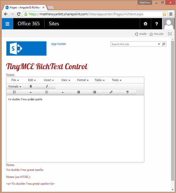 Using the SpellCheck Webservice with the TinyMCE Richtext Editor and