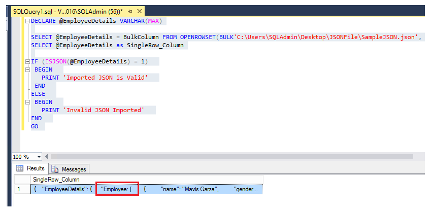 SQL Server 2016: Bulk Import JSON file data to Table