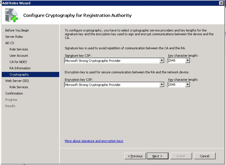 Active directory certificate services ad cs network device step 6 specify cryptographic settings yelopaper Gallery