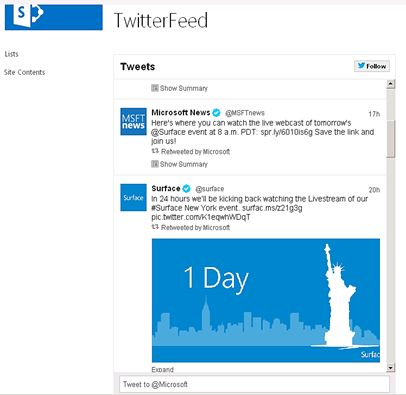 SharePoint 2013: Show Twitter Feed - TechNet Articles