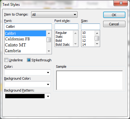 Microsoft Project 2010: how to set the default font