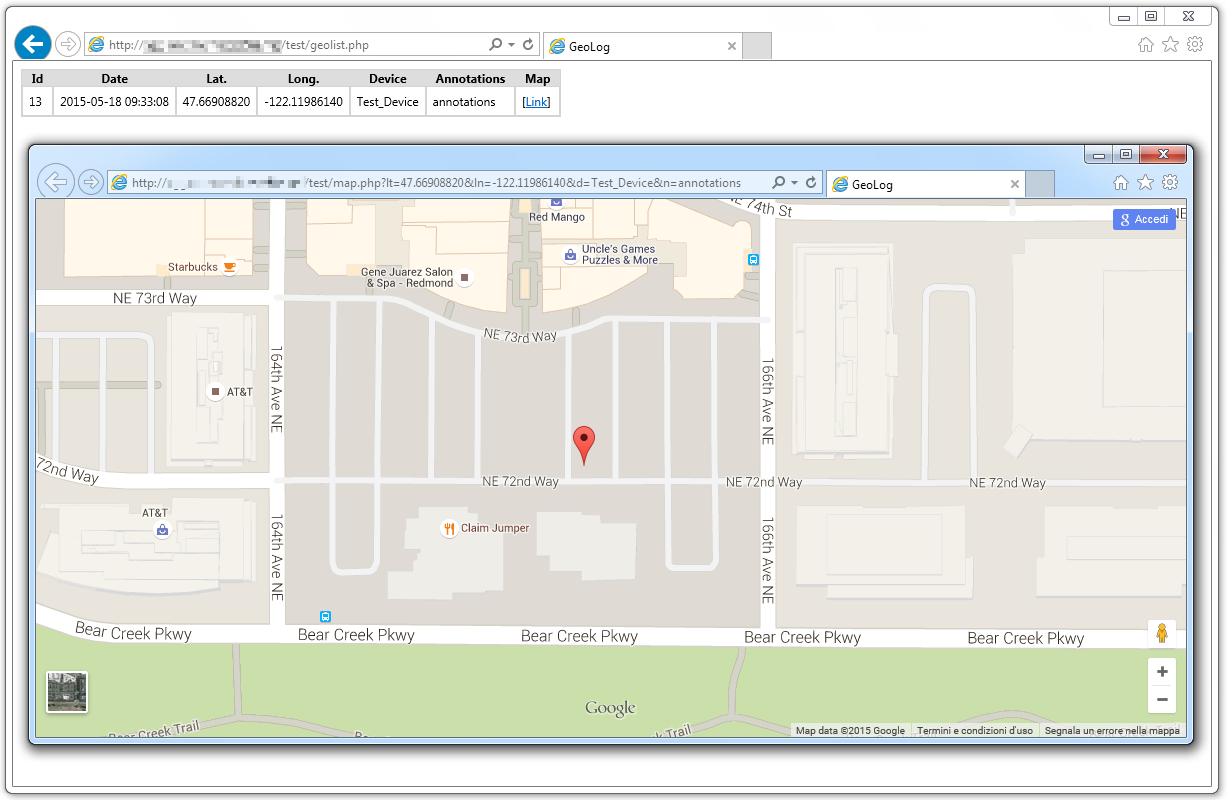Geolocalize a device and store coordinates on Webserver