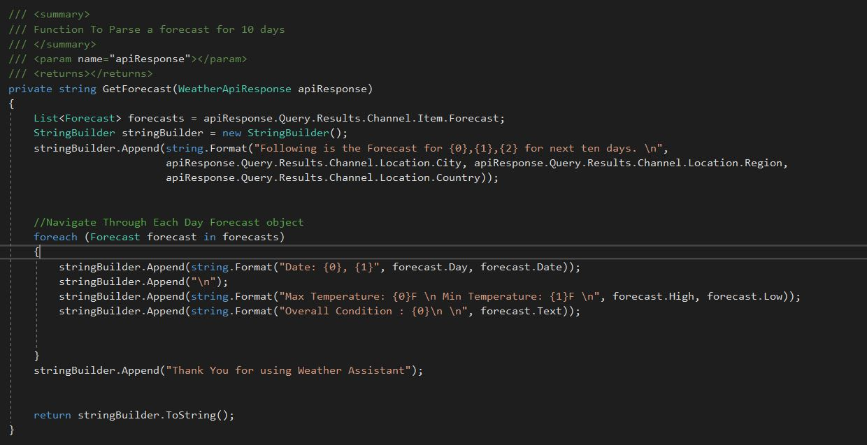 ASP NET Core 2 0: Building Weather Assistant Chatbot using